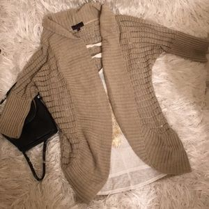 Wide Collar Open Front 3/4 Sleeve Sweater